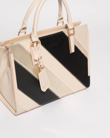 Gold Monochrome Jessica Panel Tag Tote Bag