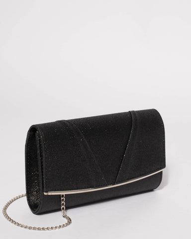 Black Marley Evening Clutch Bag With Silver Hardware