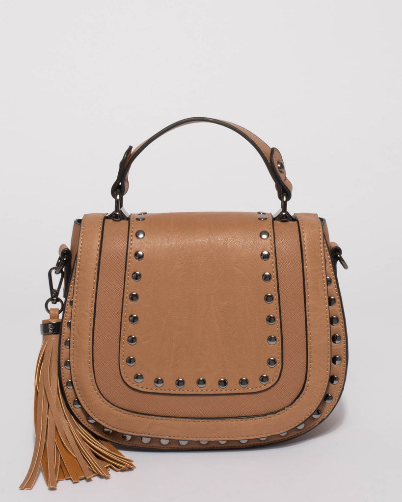 Caramel Mila Stud Saddle Crossbody Bag