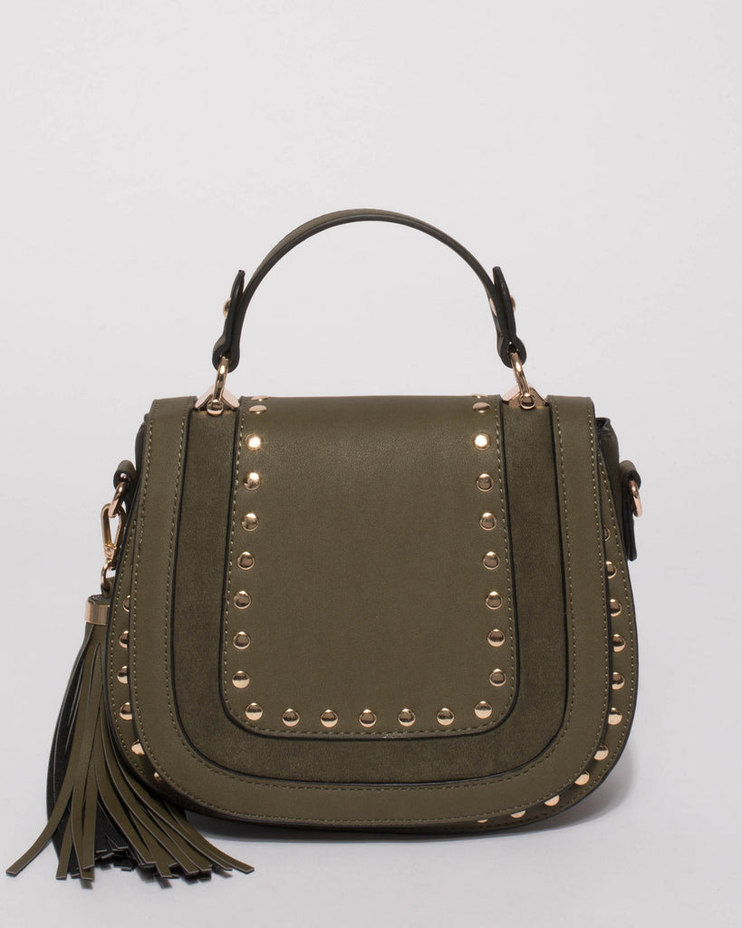 Olive Mila Stud Saddle Crossbody Bag