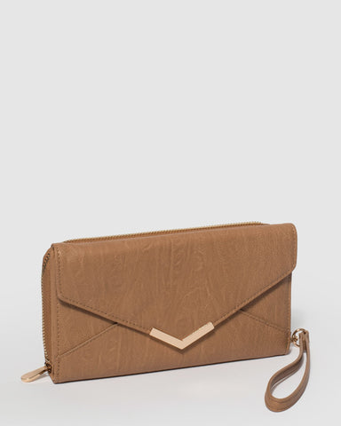Caramel Ally Envelope Wallet With Gold Hardware