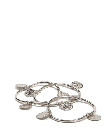 Silver Gold Tone Hammered Disc Stretch Wristwear Pack