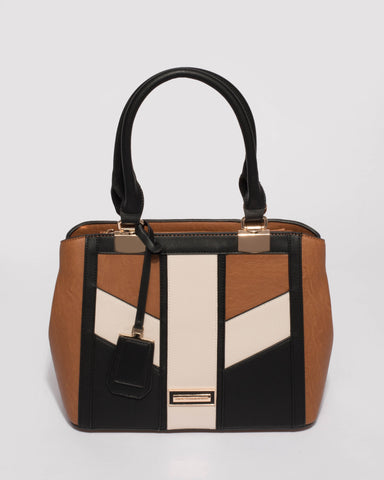 Tan Black Harper Panel Medium Tote Bag