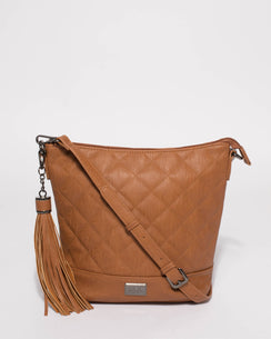Tan Monique Quilt Slouch Bag