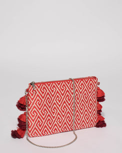 Red Bella Weave Clutch Bag