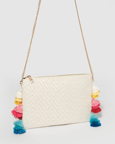 Ivory Bella Weave Clutch Bag