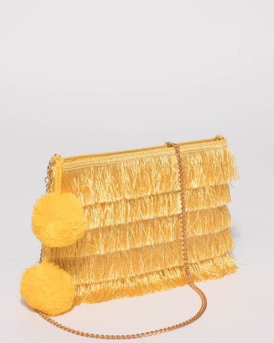 Yellow Fringe Layer Clutch Bag