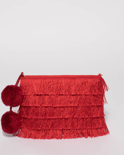 Red Fringe Layer Clutch Bag