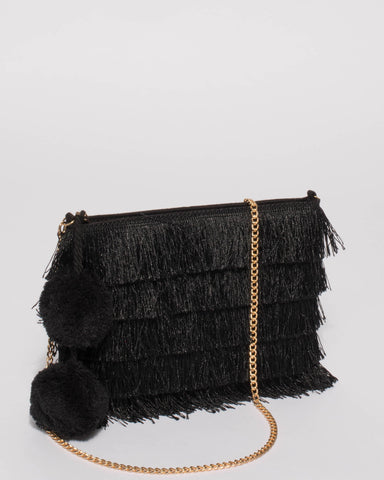 Black Fringe Layer Clutch Bag