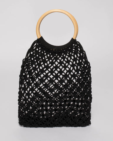 Black Crochet Cane Small Bag