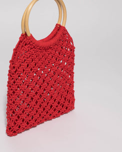 Red Crochet Cane Small Bag