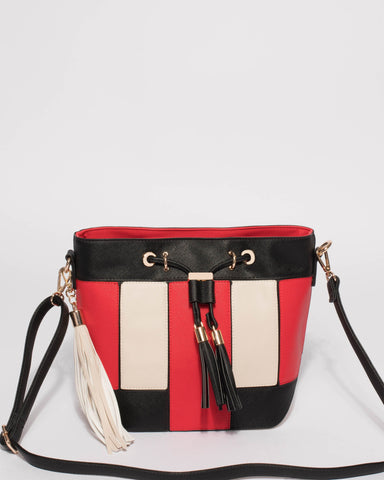Red Tara Panel Drawstring Bucket Bag