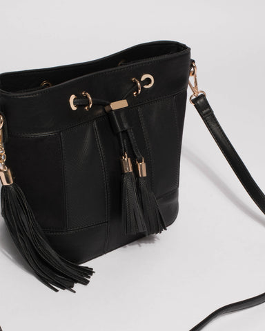 Black Tara Panel Drawstring Bucket Bag