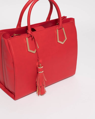 Red Mila Multi Tassel Tote Bag