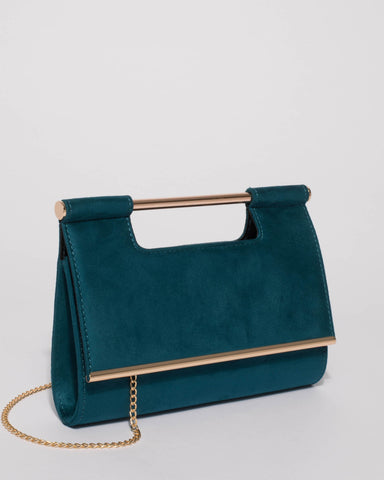 Teal Mel Handle Evening Clutch Bag