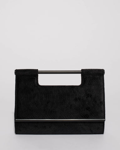 Black Croc Textured Mel Handle Evening Clutch Bag
