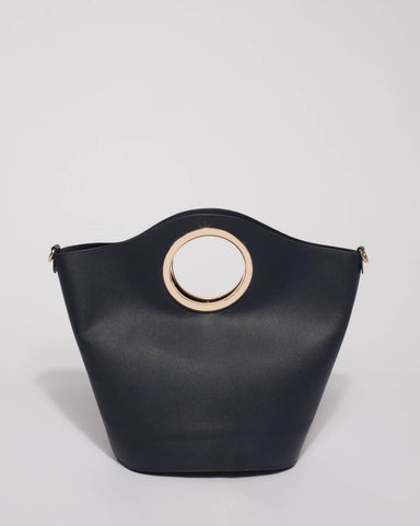 Navy Ayala Circle Handle Tote Bag