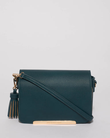 Teal Mel Multi Pocket Crossbody Bag