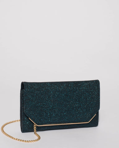 Teal Glitter Myra Evening Clutch Bag