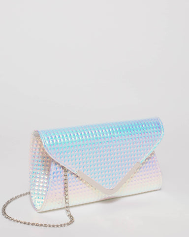 Hologram Stud Small Plain Clare Clutch Bag