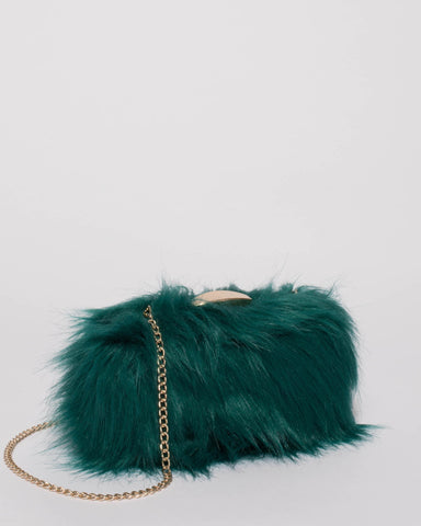 Teal Faux Fur Louise Clutch Bag