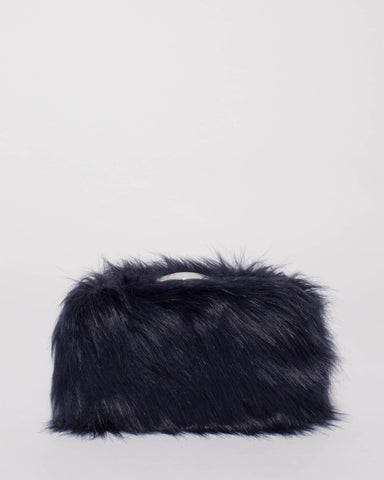 Navy Faux Fur Louise Clutch Bag