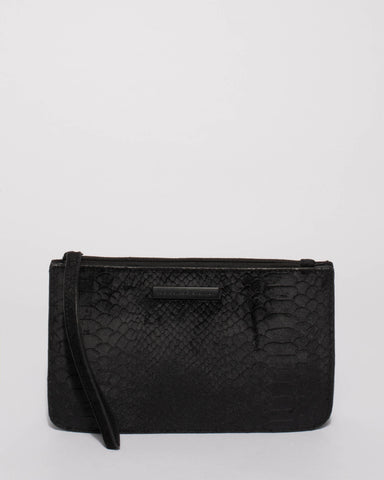 Black Willow Wristlet Clutch Bag with Matte Black Hardware