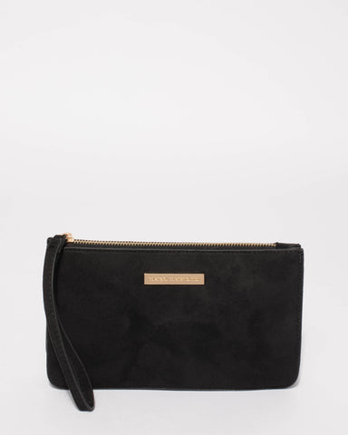 Black Suedette Willow Wristlet Clutch Bag