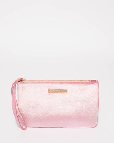 Pink Willow Velvet Wristlet Clutch Bag