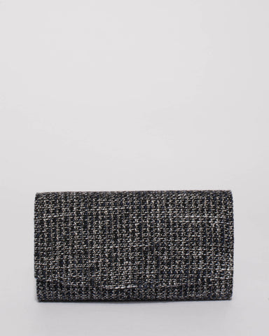 Navy Tweed Lizzie Eve Clutch Bag