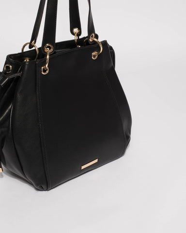Black Emalee Ring Slouch Tote Bag