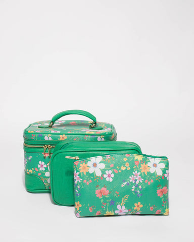Green Floral Cosmetic Case Pack