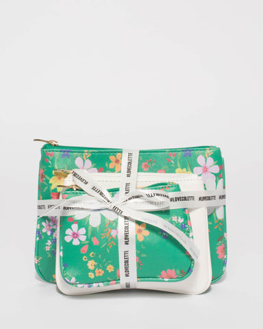 Green Floral Purse Gift Set