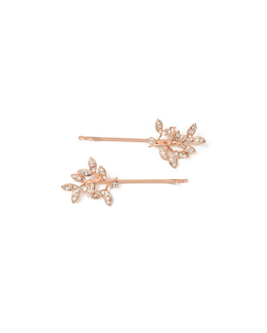 Rose Gold Pave Leaf Hair Pins