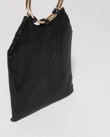 Black Chainmail Small Clutch Bag