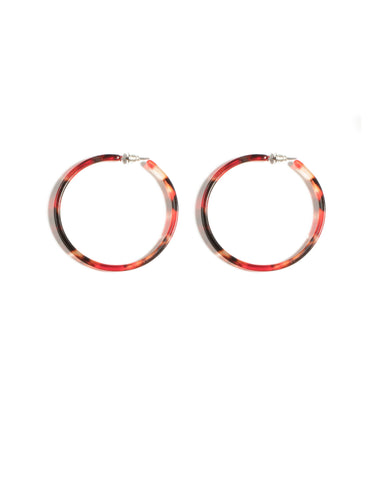 Red Silver Tone Acrylic Hoop Statement Earrings