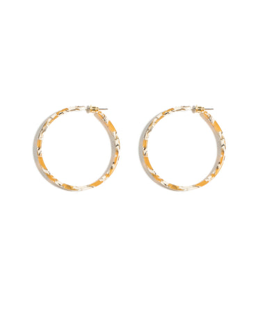 Multi Colour Gold Tone Acrylic Hoop Statement Earrings