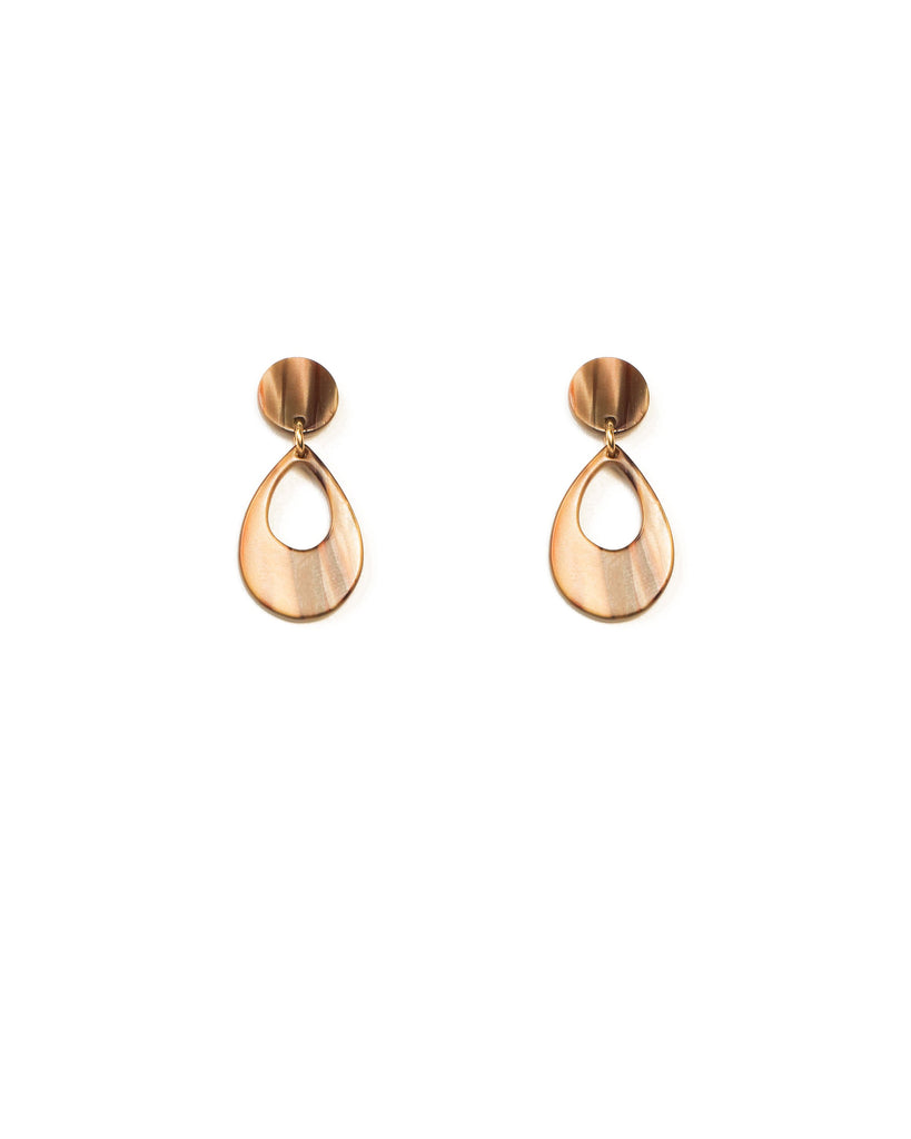 Brown Silver Tone Mini Acrylic Teardrop Statement Earrings