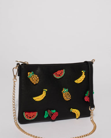Black Fruit Salad Peta Crossbody Bag