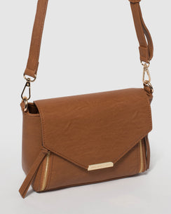 Caramel Zip Lydia Crossbody Bag