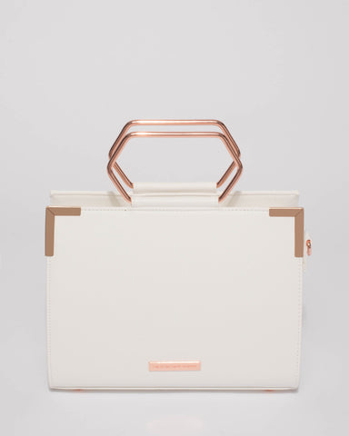 White Steph Tote Bag With Rose Gold Hardware