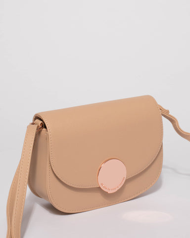 Beige Avery Saddle Crossbody Bag
