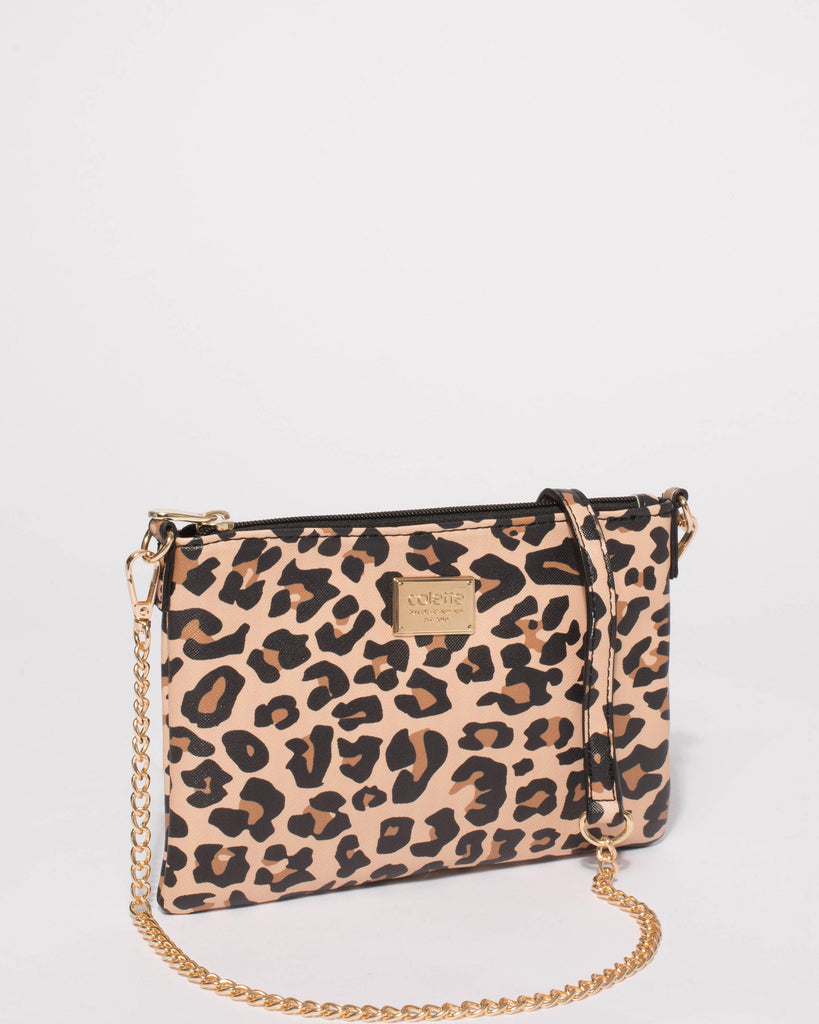 Leopard Plain Peta Chain Crossbody Bag