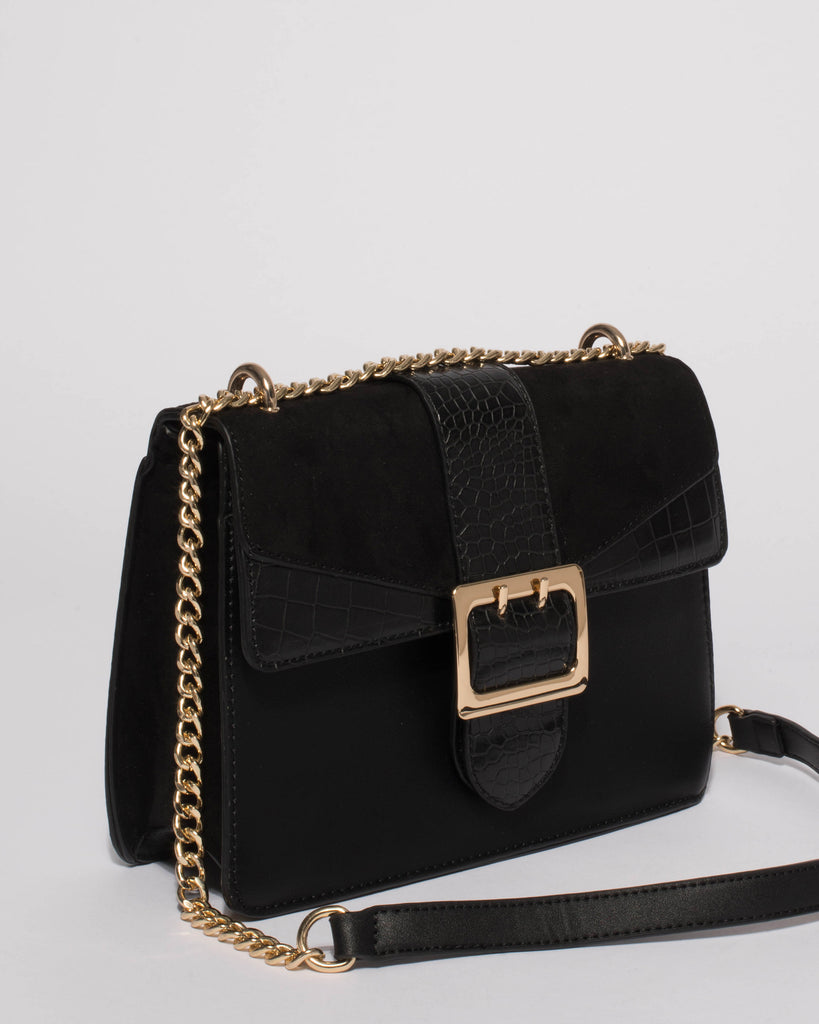 Black Rachel Rose Crossbody Bag