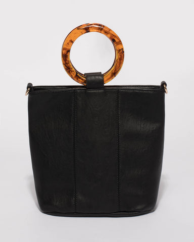 Black Ellie Acrylic Handle Bag