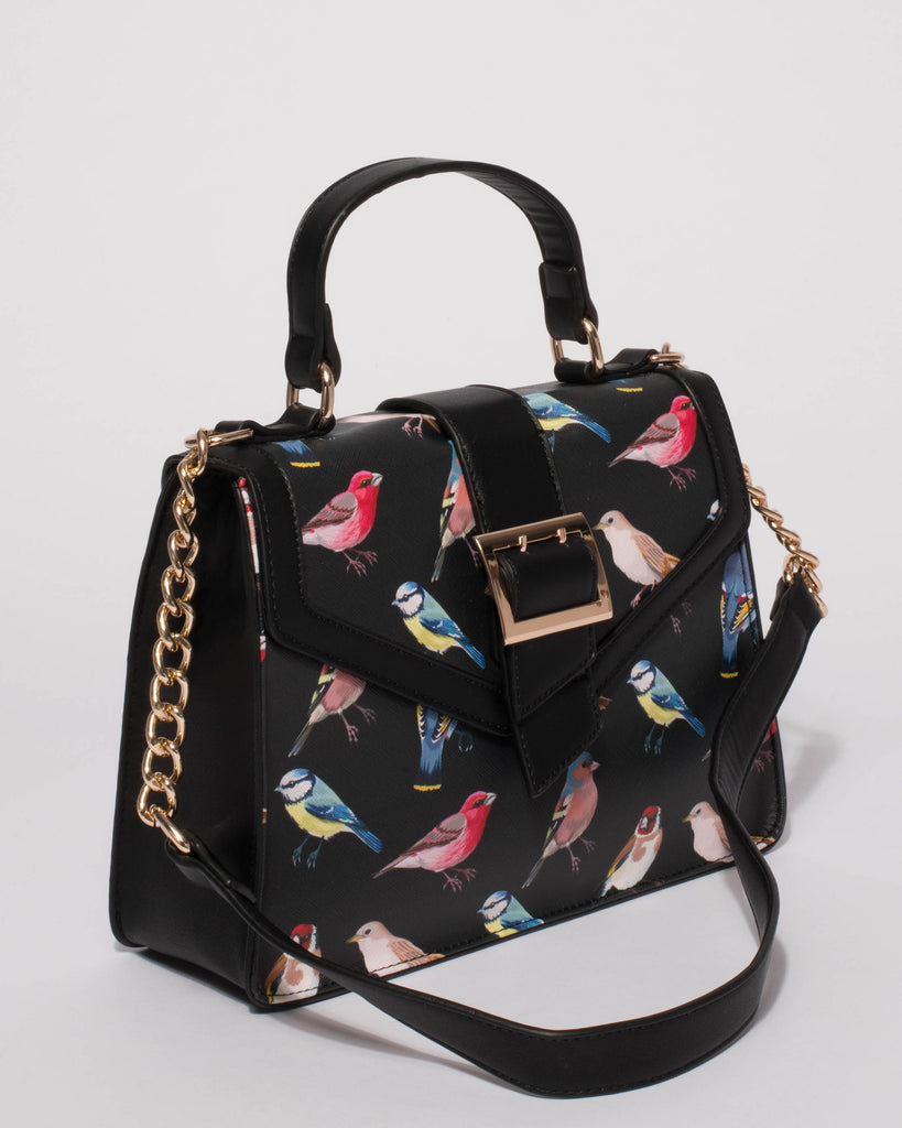 Black Bird Print Top Handle Buckle Tote Bag