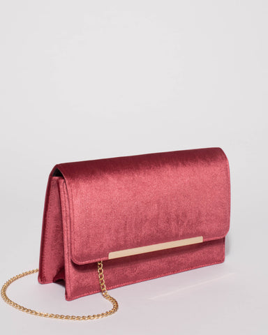 Berry Velvet Lily Clutch Bag