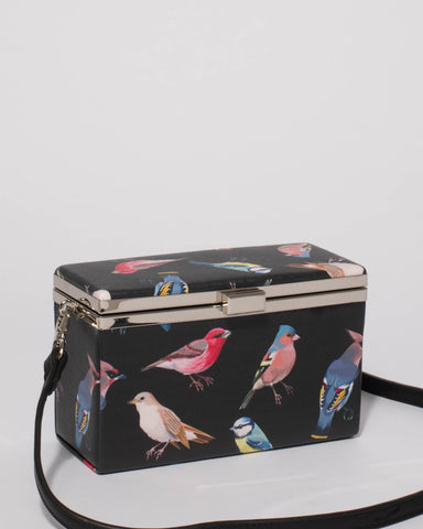Black Bird Print Madison Box Small Bag