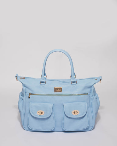 Blue Smooth Baby Travel Bag With Gold Hardware