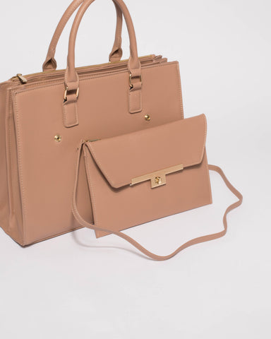Nude Pink Emily 2-In-2 Office Tote Bag